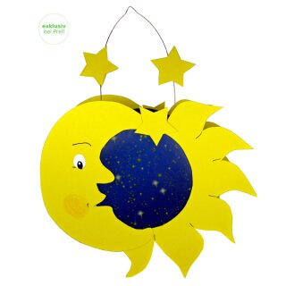 Laternen Bastelset Sonne, Mond und Sterne, 4 Stück