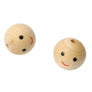 Holzperle D: 18 mm mit Gesicht Lochbohrung D: 4 mm, 6 Stück