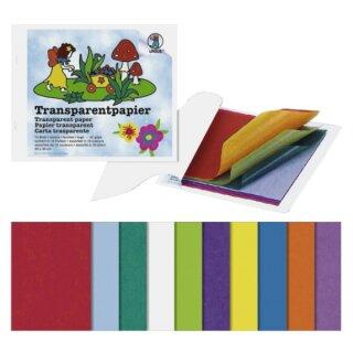 Transparentpapier Bastelheft 10 Blatt sort. in 10 Farben 20 x 30 cm, 42 g/qm