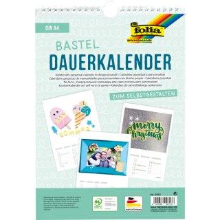 10 Stück Bastelkalender/Dauerkalender DIN A4, weiß, 12 Monatsblätter