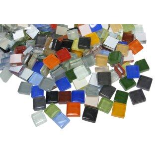 "Glänzend bunte ""Mosaik Softglassteine"" ca. 10 x 10 mm, 500 g = ca. 550 Stück"